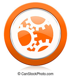 ausrüstung, orange, ikone, einstellungen, zeichen