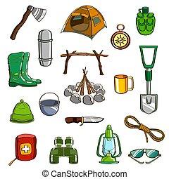 ausrüstung, satz, camping