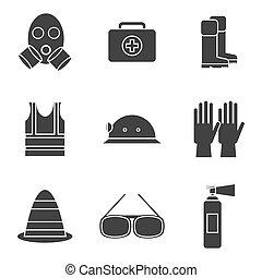 ausrüstung, satz, sicherheit, ikone