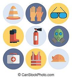 ausrüstung, satz, sicherheit, wohnung, ikone