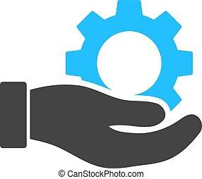 ausrüstung, service, abbildung, hand, vektor, ikone