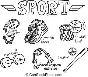ausrüstung, sport, gekritzel