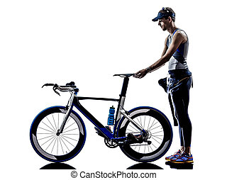 ausrüstung, triathlon, athlet, eisen, mann