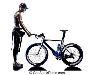 ausrüstung, triathlon, mann, athlet, ironman
