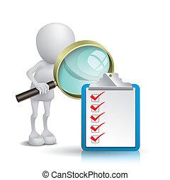 ausschnitt, aufpassen, liste, kontrollieren, merkzettel, glas, person, polster, vergrößern, 3d