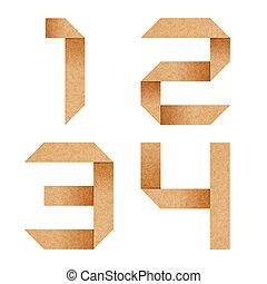 ausschnitt, briefe, 1, alphabet, wiederverwertet, papier, origami, pfad