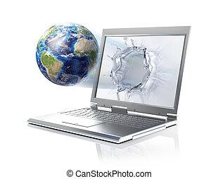 ausschnitt, flüssiglkeit, erdball, formung, laptop, kommen, ...