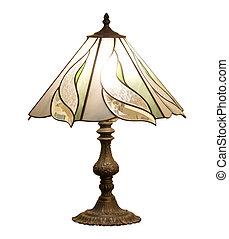 ausschnitt, freigestellt, lampe, hintergrund, tisch, pfad, weißes