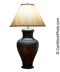 ausschnitt, freigestellt, lampe, tisch, pfad, weißes