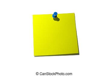 ausschnitt, paper., gelbe klebrige notiz, note., schatten, ...
