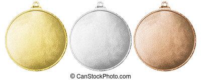 ausschnitt, satz, freigestellt, gold, medaillen, leer, pfad, silber, bronze