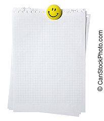 ausschnitt, seiten, magnet., spirale, gelber , freigestellt, hintergrund., notizbuch, weißes, path., lächeln, leerer , stackes