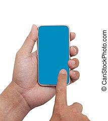 ausschnitt, telefon, hand, (mobile, phone), besitz, pfad, klug