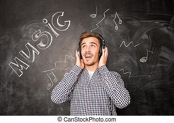 aussehen, head-phones, musiker, auf, junger