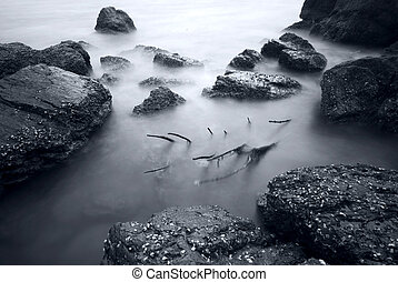 aussetzung, sandstrand, langer, steinen