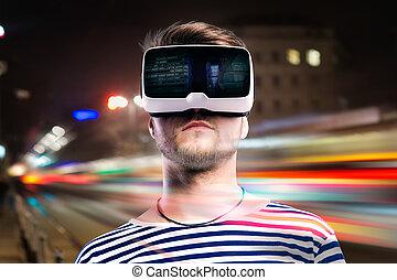 aussetzung, tragen, stadt, doppelgänger, virtuelle wirklichkeit, nachtsichtgerät, mann