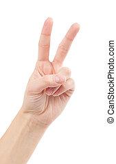 aussi, haut, paix, isolé, symbole., language., doigts, white., lettre, v, signe main, ou, deux, victoire