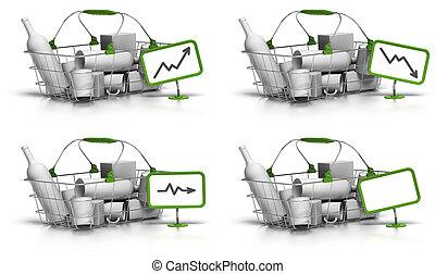 aussi, stagnation, marchandises, diminution, prix, diagramme, là, augmentation, gratuite, signe, indiquer, vert, texte, fond, vide, panier, blanc, intérieur, ou, panneau