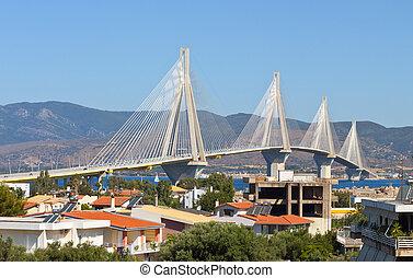 aussi, stayed, patras, appelé, rion-antrion, greece., ville, pont, bridge., câble