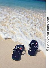 aussie, feriado, thongs, praia