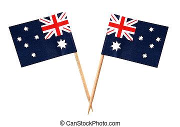 Aussie Flags - Australian flags on toothpicks, isolated on...
