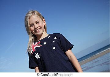 Aussie girl. - A young girl wearing an Australian flag t-...