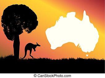 aussie, mapa, canguru, e, boab, árvore