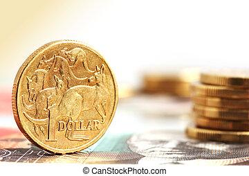 aussie, moedas, dólar, um