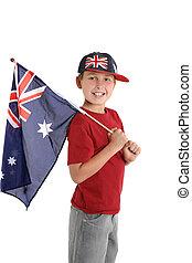 aussie, patriótico, bandeira, prendendo criança