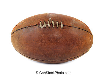 Old Australian Rules football, isolated on white.