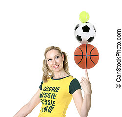 Aussie Sports - Cheerful, Aussie girl in green and gold...