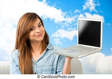 ausstellung, frau, junger, laptop.