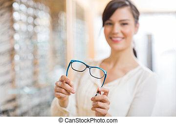 Ausstellung, frau, kaufmannsladen, Brille