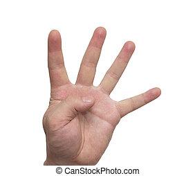 ausstellung, freigestellt, hand, vier, finger, hintergrund, weißer mann