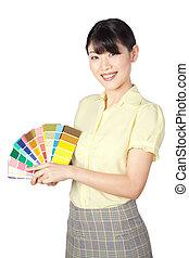 ausstellung, tabelle, frau, farbe, junger