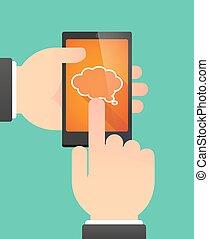 ausstellung, telefon, gebrauchend, komiker, balloon, wolke, mann