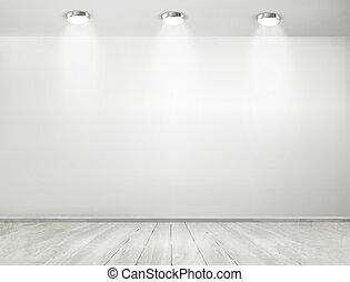 ausstellungsraum, floor., concept., hölzern, scheinwerfer, ...
