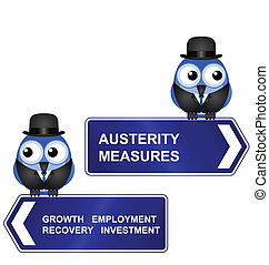 Austerity Measures sign isolated on white background
