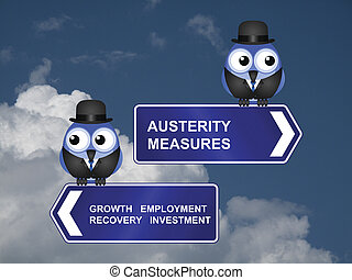 Government austerity measures signs against a cloudy blue sky