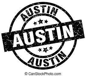 Austin black round grunge stamp