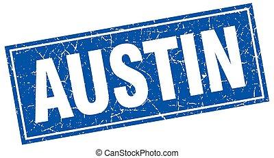 Austin blue square grunge vintage isolated stamp