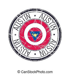 austin, città, vettore, francobollo, texas