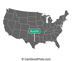 Austin city limit sign and map of USA