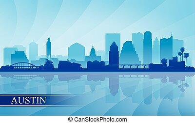 Austin city skyline silhouette background, vector...