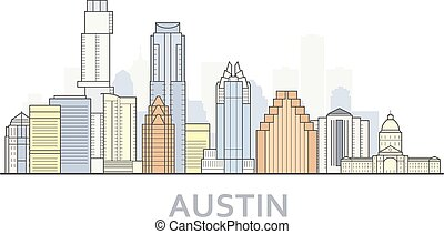 Austin cityscape, Texas - city panorama of Austin, skyline of downtown