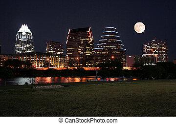 austin, nuit, lune, texas, en ville
