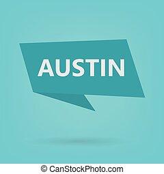Austin on sticker- vector illustration
