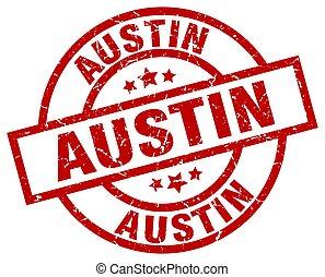 Austin red round grunge stamp
