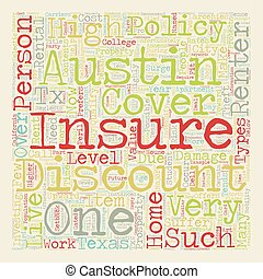 Austin Renters Insurance text background wordcloud concept