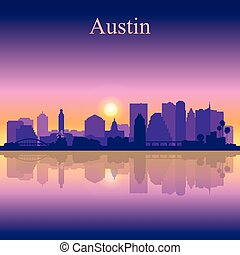 Austin silhouette on sunset background